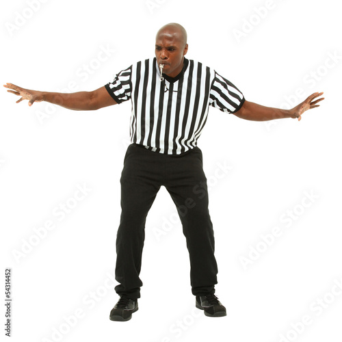 Fotografering  Attractive fit black man in referee uniform facing front and blo
