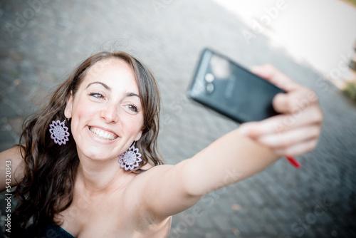 Fotografie, Obraz beautiful woman taking self-portrait