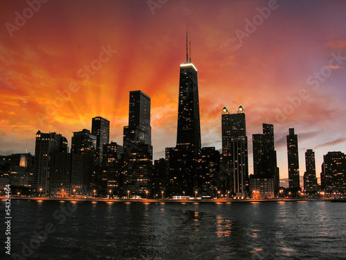 Foto op Canvas Chicago Wonderful Chicago Skyscrapers Silhouette at sunset
