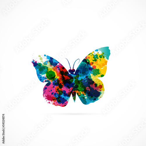 Canvas Prints Butterflies in Grunge logo papillon