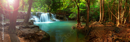 Fotobehang Watervallen Huay mae kamin waterfall