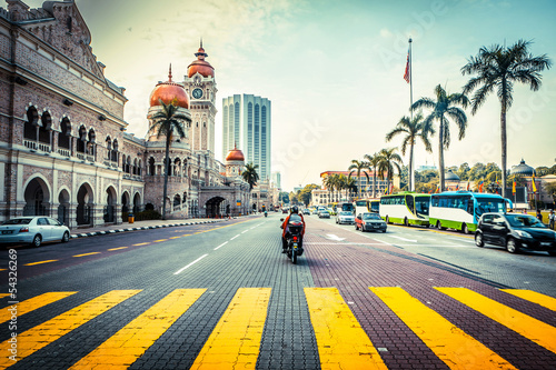 Road in front of Sultan Abdul Samad Building In Malaysia