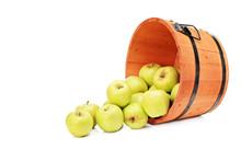 Studio Shot Of Yellow Apples In A Wooden Bucket