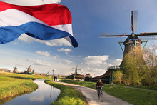 Windmills With Flag Of Holland...