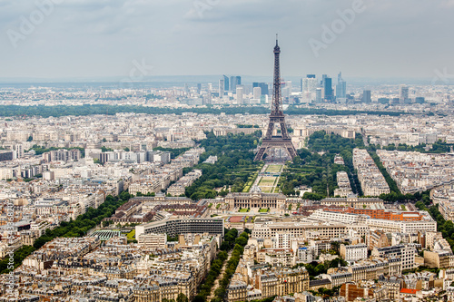 Photo  Aerial View on Champs de Mars and Eiffel Tower, Paris, France