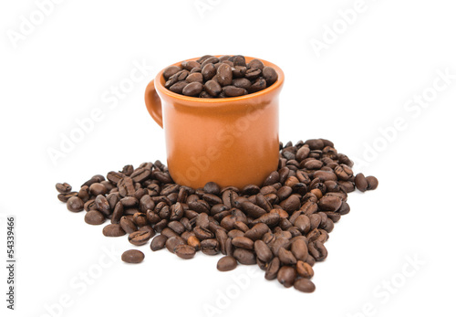Fotografie, Obraz  coffee beans with a cup of coffee isolated
