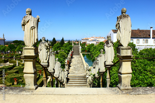 Stairway with statues of portuguese kings, Castelo Branco, Portu Wallpaper Mural
