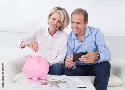 Fotografía  Mature Couple Calculating Coin In The Piggybank
