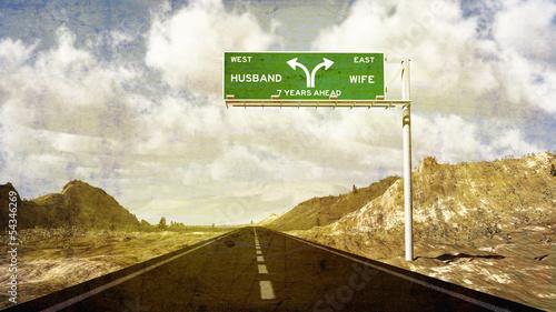 Fényképezés  The Seven Year Itch Divorce Road Sign