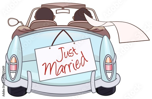 Montage in der Fensternische Cartoon cars just married