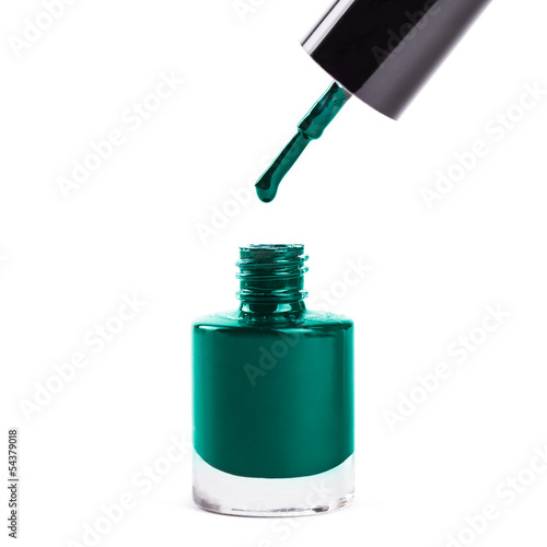 Dark Turquoise Nail Polish Isolated On White