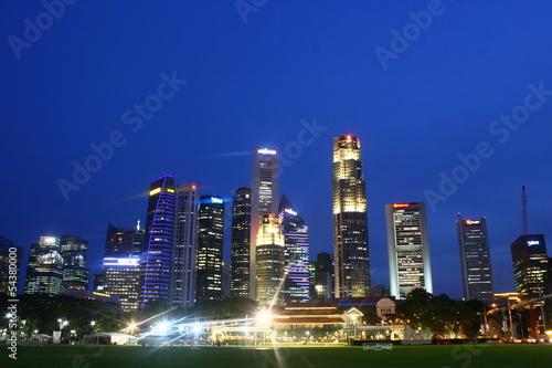 Photo  City Skylne Singapore, Cityscape Night