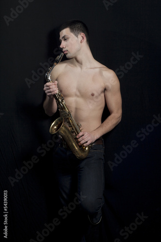 Saxophone Player. Wallpaper Mural
