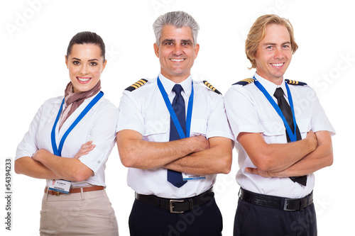 Valokuva  group of airline crew with arms folded