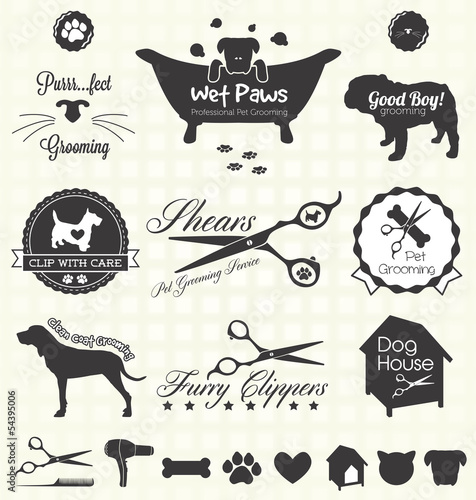 Fotografie, Obraz  Vector Set: Pet Grooming Labels