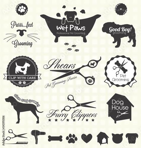Fotografía  Vector Set: Pet Grooming Labels
