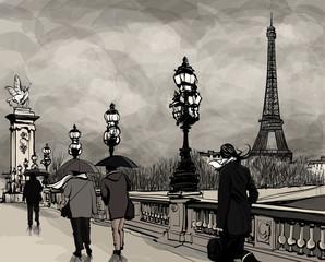 Naklejka Drawing of Alexander III bridge in Paris showing Eiffel tower