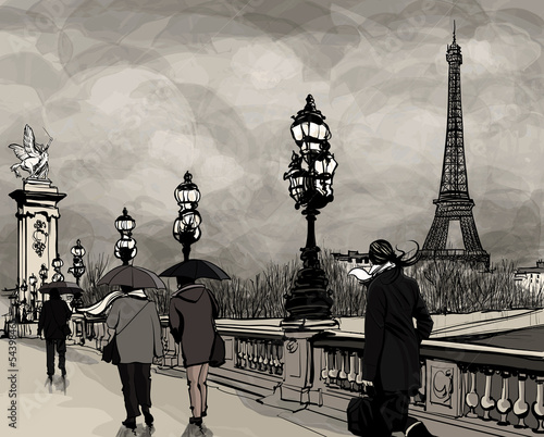 Foto auf AluDibond Gezeichnet Straßenkaffee Drawing of Alexander III bridge in Paris showing Eiffel tower