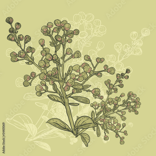 Fototapety, obrazy: Floral ornament with branches in vintage style