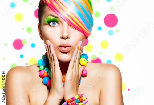 Obraz Beauty Girl Portrait with Colorful Makeup, Hair and Accessories - fototapety do salonu