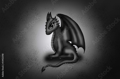 cute dark chibi dragon Poster