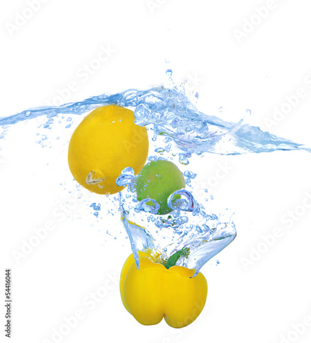 Printed kitchen splashbacks Fresh vegetables Tropical fruits and vegetables falling into water with splash