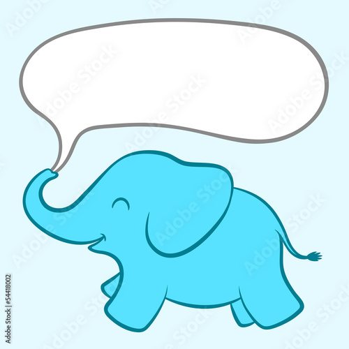 Baby blue elephant with a speech bubble Canvas Print
