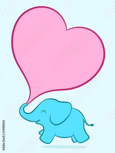 Photo  Baby elephant with pink heart