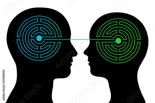 Couple with labyrinth brains communicate Canvas Print