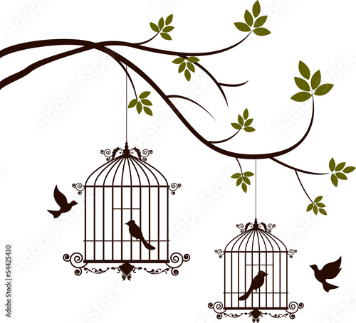 Recess Fitting Birds in cages tree silhouette with birds flying and bird in a cage