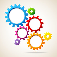 Abstract Background Gears Rainbow Colors