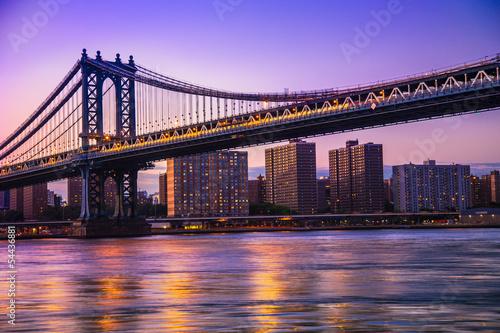 Manhattan Bridge and New York City at sunset