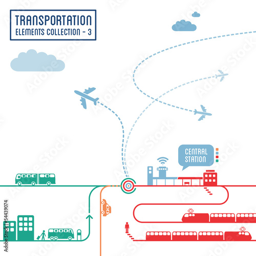 Fotografie, Obraz  Transportation infographics - graphic elements set 3