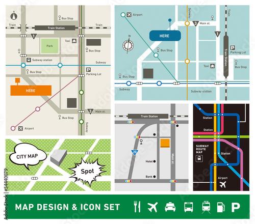 Obraz 地図デザイン・アイコンセット - fototapety do salonu