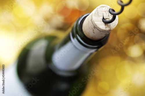 Fotografía  Tornillo del corcho y la botella de vino