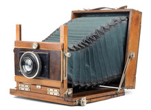 Vintage Large Format Camera Isolated On White.