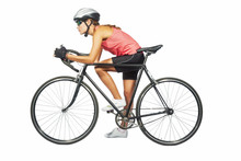 Female Professional Cycling Athlete Posing With Racing Bike.mode