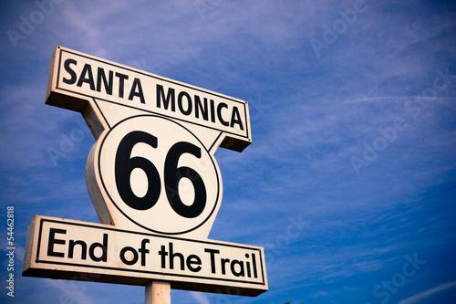 Fotobehang Route 66 Historic Route 66 Santa Monica sign