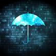 Security concept: Umbrella on digital background