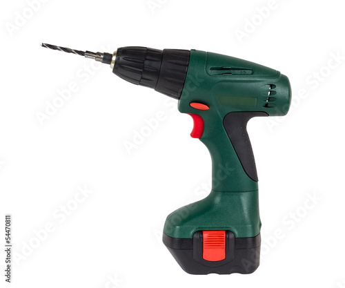 Fotografia  Screwdriver drill isolated on a white background
