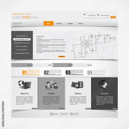 website design template with electronics schematic illsutration ...