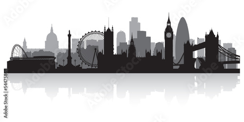 London city skyline silhouette Wallpaper Mural
