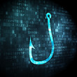Privacy concept: Fishing Hook on digital background