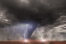 Tornado With Lightning Over A Field