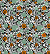 Pattern, Seamless, Passionflower, White, Black, Floral