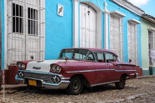 old car on street in Cuba Canvas Print