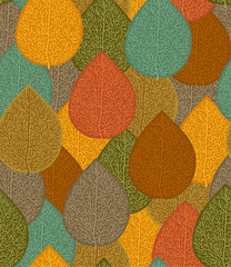 FototapetaSeamless pattern with multicolored autumn leaves