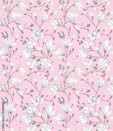 Tapeta ścienna na wymiar Seamless pink pattern with a blossoming magnolia