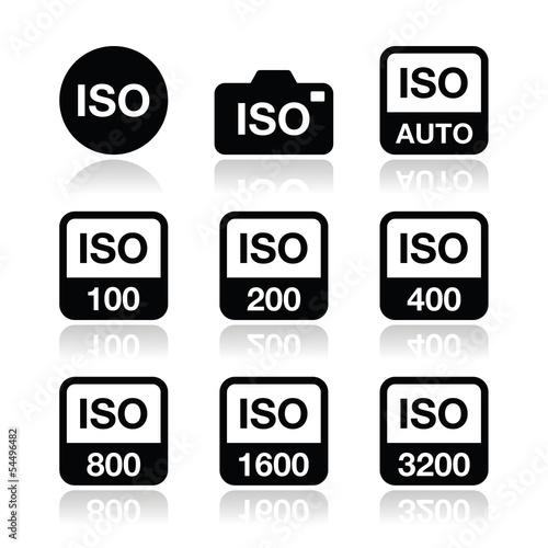 Fotografie, Obraz  ISO - camera film speed standard icons set