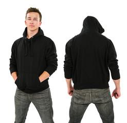 Male with blank black hoodie